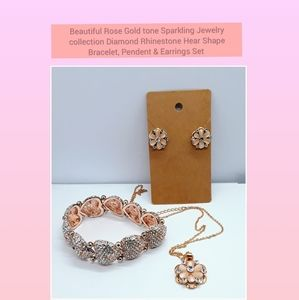 Jewelry - BeautifulRose Gold tone Sparkling Crystal Jewelry